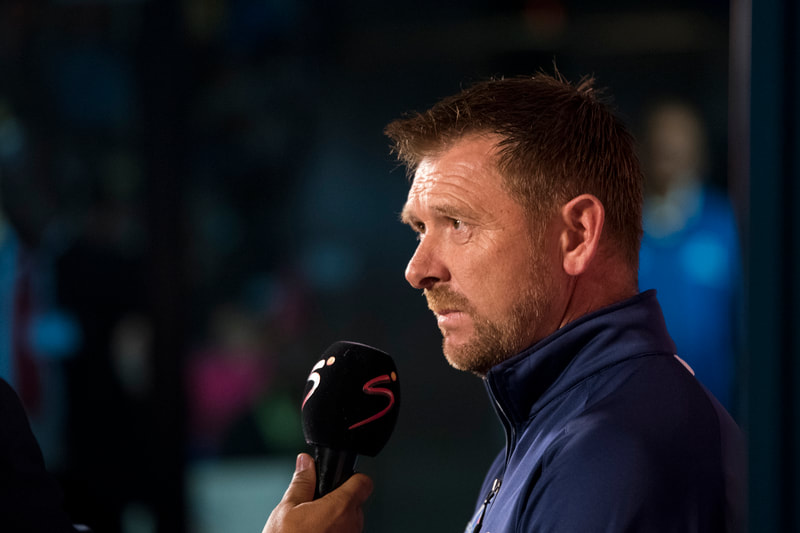 Maritzburg United head coach Eric Tinkler, chats to the media before the start of the game. Match between Maritzburg United and Bloemfontein Celtic at the Harry Gwala Stadium on the 5th of April 2019 © Image: BOOGS Photography / Andrew Mc Fadden