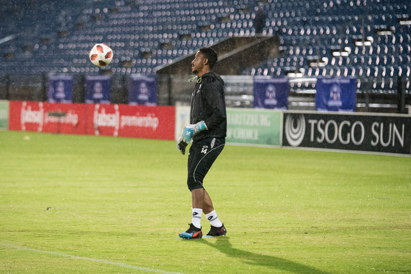 Bongani Mpandle of Maritzburg United, warming up before the game. Match between Maritzburg United and Bloemfontein Celtic at the Harry Gwala Stadium on the 5th of April 2019 © Image: BOOGS Photography / Andrew Mc Fadden