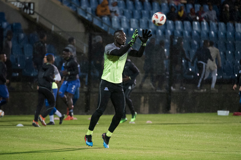 Richard Ofori of Maritzburg United, warming up before the game. Match between Maritzburg United and Bloemfontein Celtic at the Harry Gwala Stadium on the 5th of April 2019 © Image: BOOGS Photography / Andrew Mc Fadden