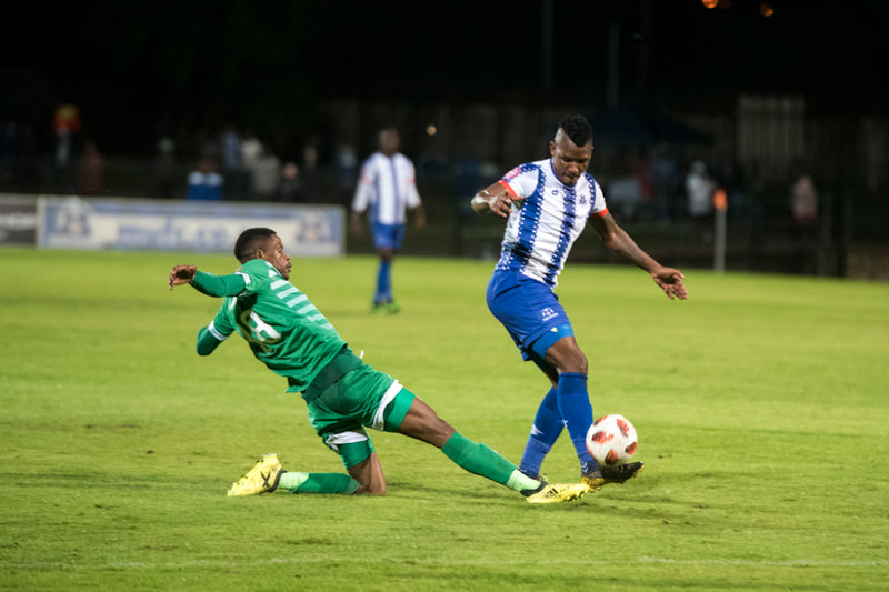 Mohau Mokate of Maritzburg United, wins the ball. Match between Maritzburg United and Bloemfontein Celtic at the Harry Gwala Stadium on the 5th of April 2019 © Image: BOOGS Photography / Andrew Mc Fadden