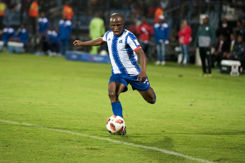 Mxolisi Kunene of Maritzburg United, crosses in the ball. Match between Maritzburg United and Bloemfontein Celtic at the Harry Gwala Stadium on the 5th of April 2019 © Image: BOOGS Photography / Andrew Mc Fadden