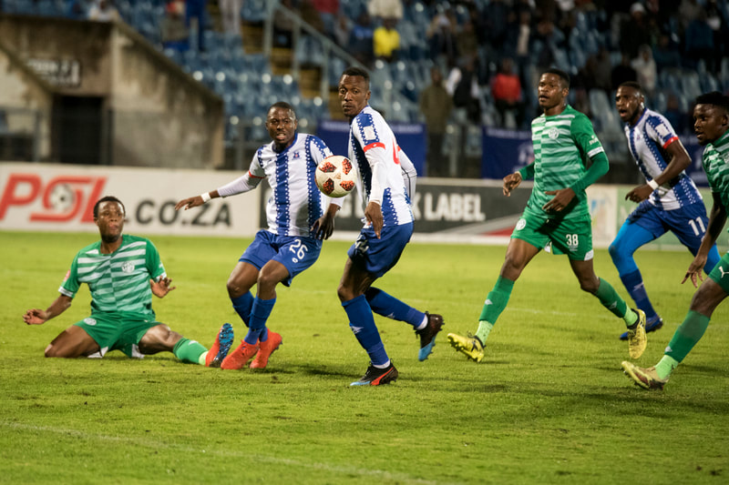 Bandile Shandu and Yannick Zakri of Maritzburg United, set up a beautiful cross. Match between Maritzburg United and Bloemfontein Celtic at the Harry Gwala Stadium on the 5th of April 2019 © Image: BOOGS Photography / Andrew Mc Fadden