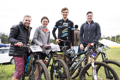 Stacey Hyslop, Christie Hearder, Nathan Treble and Chad Hearder all smiles after completing the gruelling MTB event - (c) Andrew Mc Fadden / BOOGS Photography